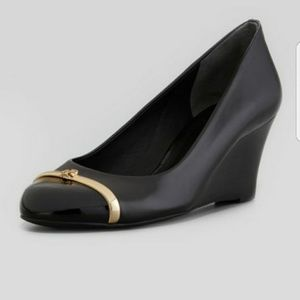 TORY BURCH Pacey Cap Toe Wedges Black Leather 8
